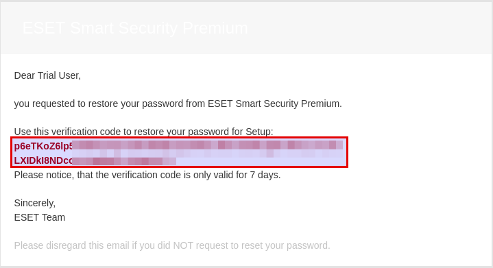 Ceke email lupa password ESET